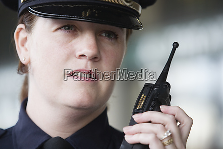 close up of female police officer