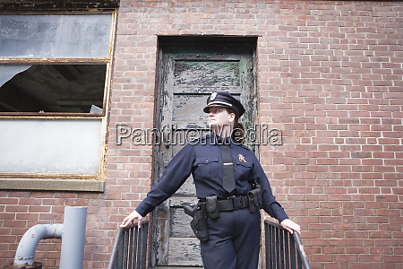 view of a female police standing