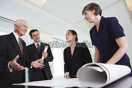 view of businesspeople discussing in an