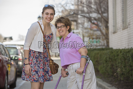 woman with cerebral palsy and her