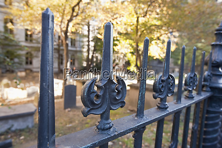wrought iron fence at kings chapel