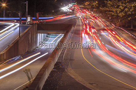 storrow drive with auto lights at