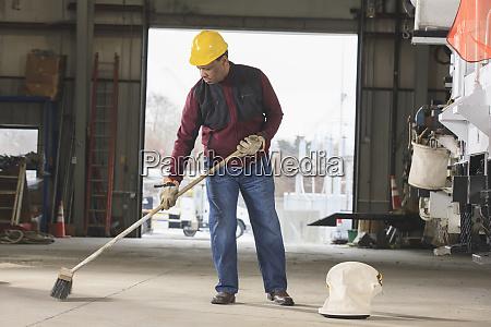 maintenance supervisor cleaning utility garage