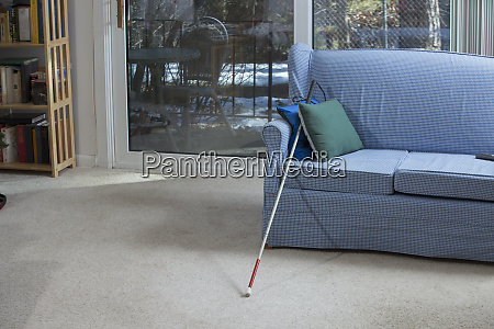 cane leaning against sofa