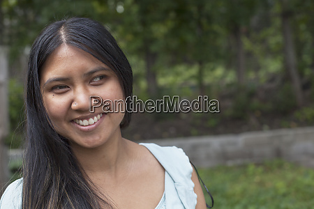 woman with visual impairment smiling