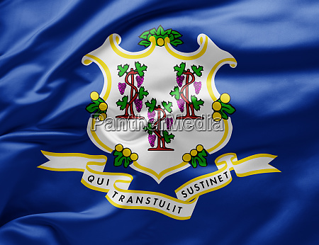 waving state flag of connecticut