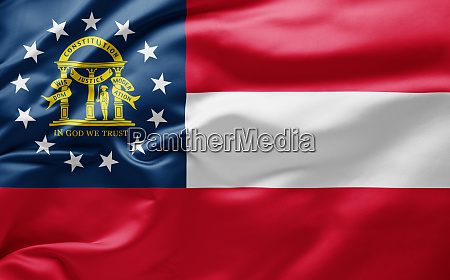 waving state flag of georgia