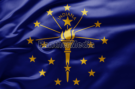 waving state flag of indiana