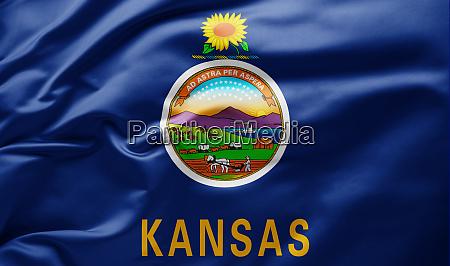 waving state flag of kansas