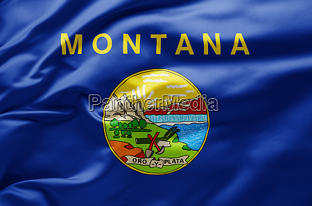 waving state flag of montana