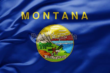 waving state flag of montana