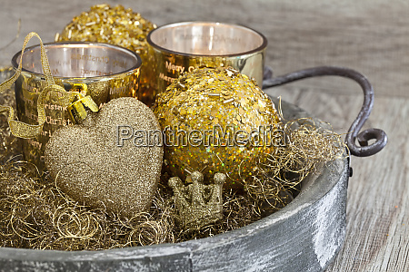 christmas decoration with heart in gold