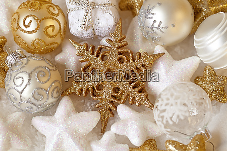 golden and white christmas ornaments