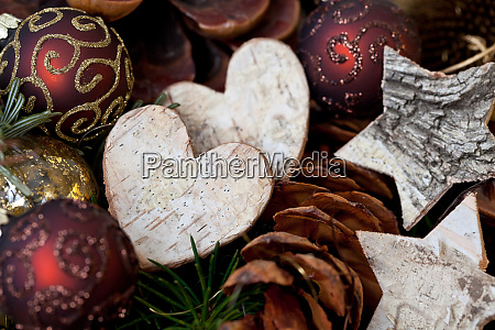 rustic christmas still life with heart
