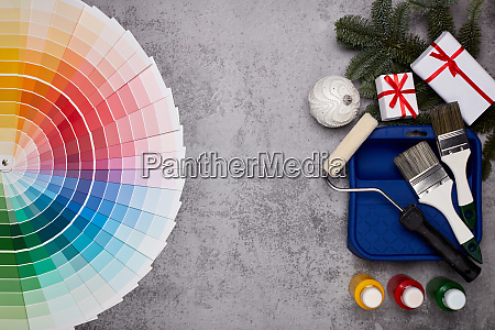 painting accessories colour guide and christmas