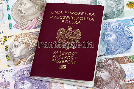 polish passport on a background of