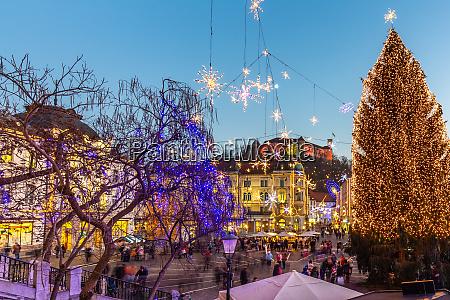 romantic ljubljanas city center decorated for