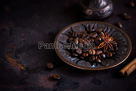 fresh roasted coffee beans on a
