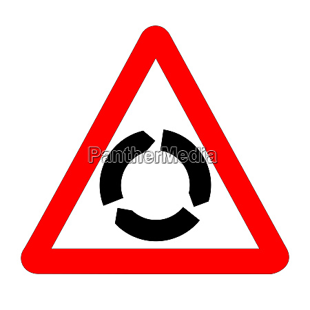 roundabout traffic sign isolated