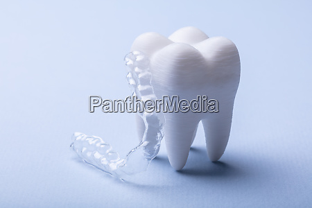mouth guard and tooth model over