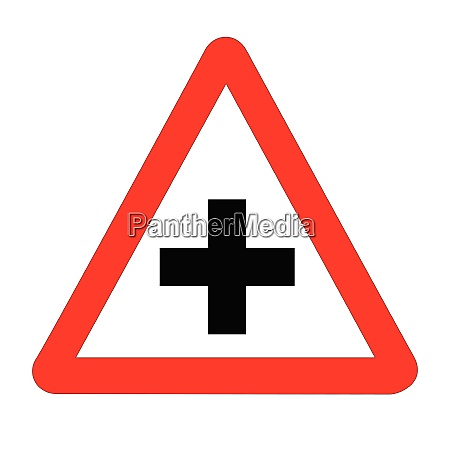 cross roads traffic sign isolated
