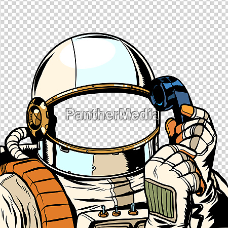 the astronaut is talking on the