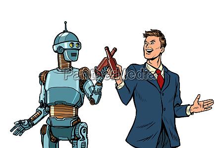 businessman and robot cheers beer bottles