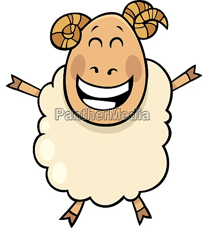 happy ram farm animal cartoon character