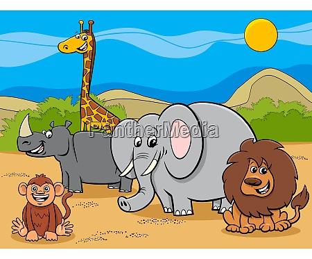 safari animals cartoon characters group