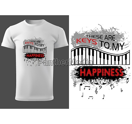 white t shirt design with piano