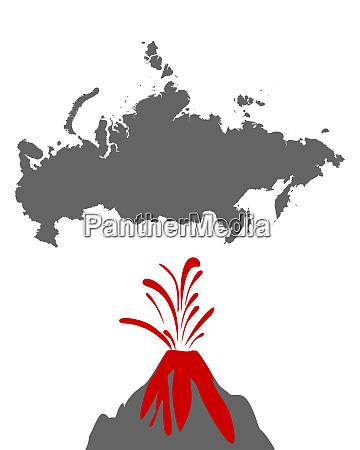 karte von russland mit vulkan