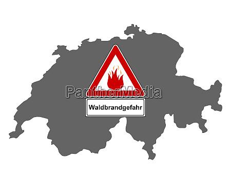 karte der schweiz mit warnschild waldbrandgefahr