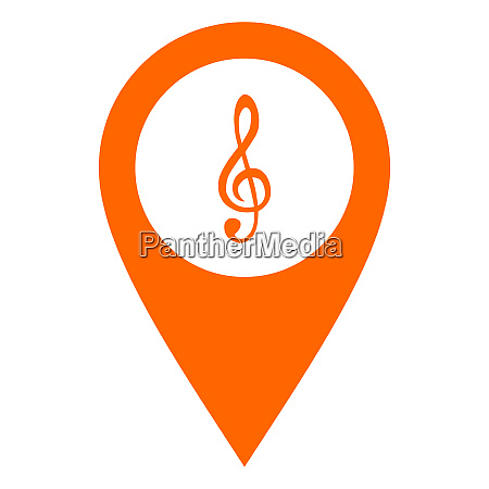 violin clef and location pin