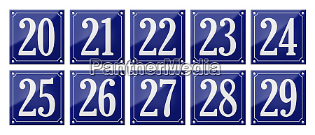 set of traditional blue enamel signs