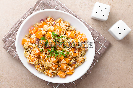 roasted pumpkin cauliflower and red onion