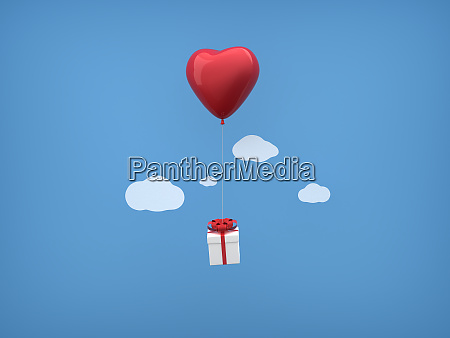 red heart balloons and gift box