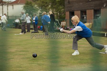determined female senior bowler