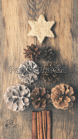 christmas tree shape of pine cones