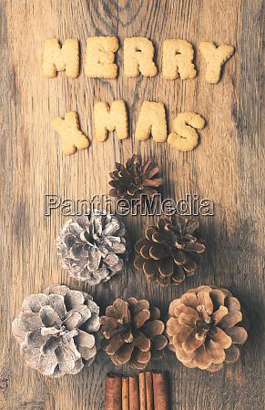 merry x mas with pine cones
