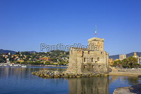 italian castles on sea italian flag