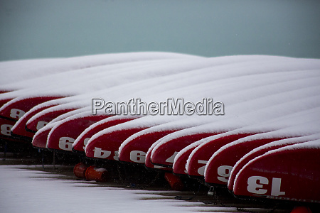 fresh late summer snow on docked