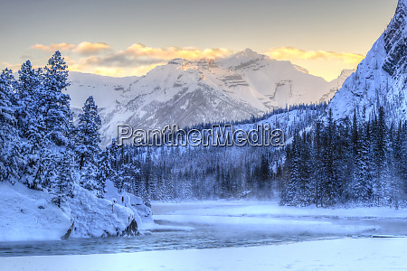 bow river near bow falls outskirts