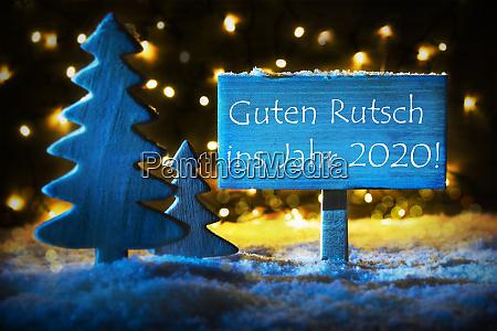 blue christmas tree guten rutsch 2020