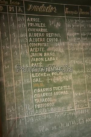 cuba, , vinales, , blackboard, sign, listing, foods - 27329146