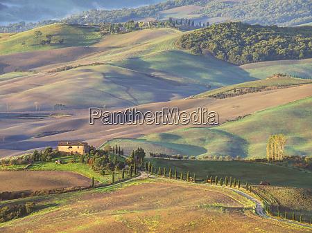 europe italy tuscany evening light on