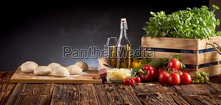 panorama with fresh food for italian