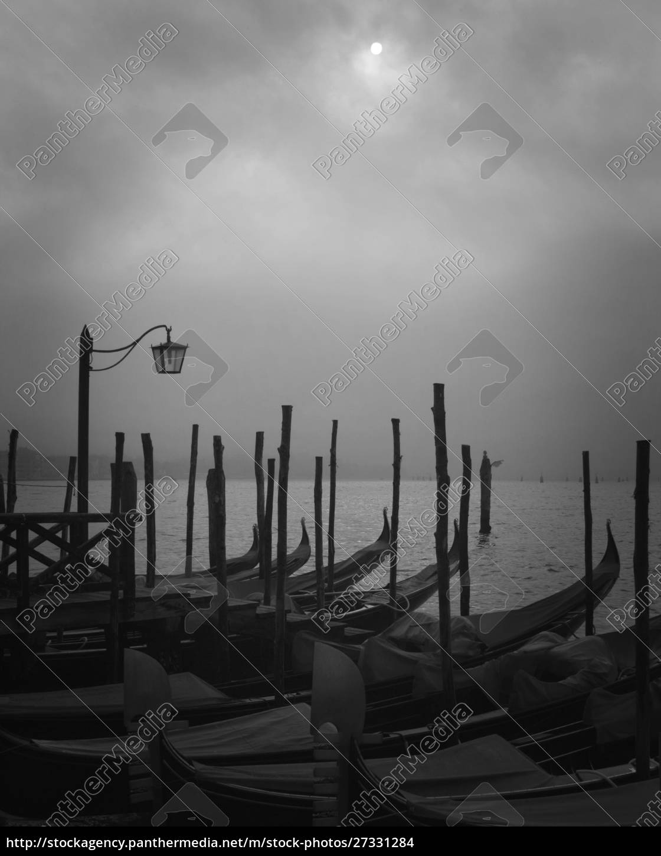 europe, , italy, , venice., moored, gondolas, and - 27331284