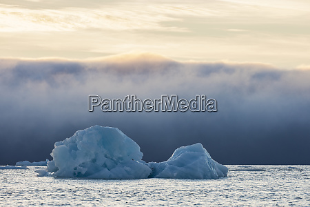 norway svalbard kvitoya iceberg and fog