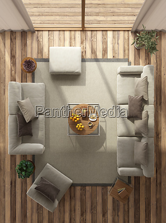 top view of a minimalist living