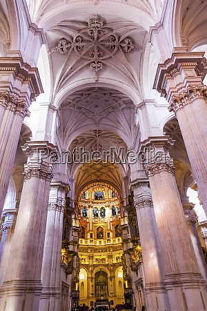 columns stained glass in cathedral andalusia